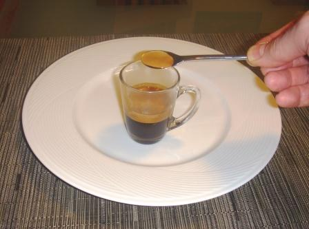 A scoop of crema off the espresso top